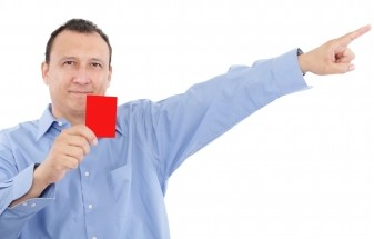 Dad with red card