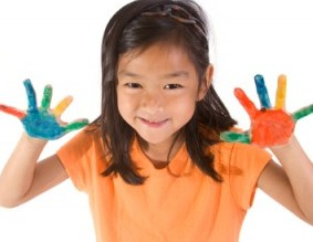 Girl with finger paint